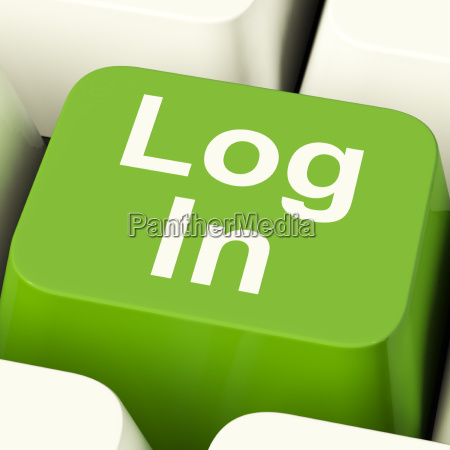 log in computer key green showing