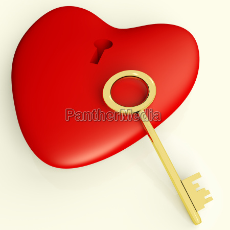 heart with key showing love romance