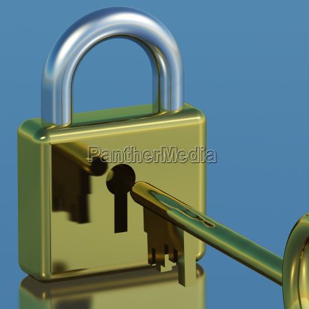 padlock with key showing security protection