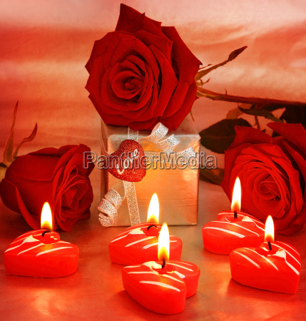 beautiful roses with gift box amp
