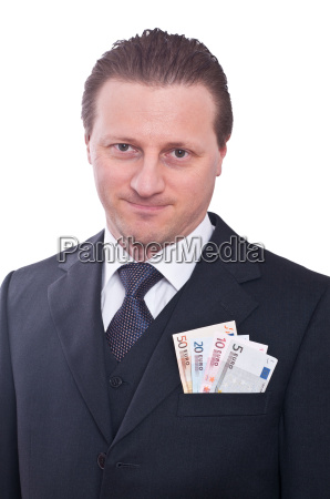 man in suit with euro notes