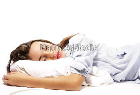 sleeping beautiful woman in pajamas
