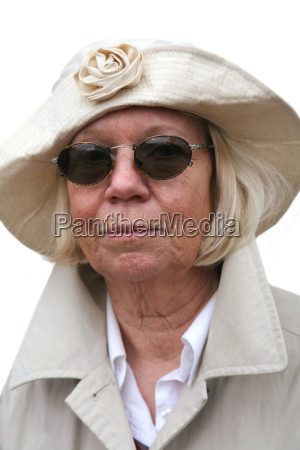 senior woman in rainwear