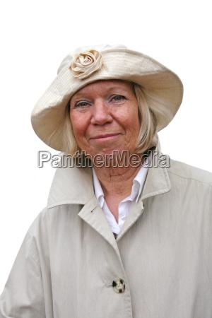 senior in rainwear