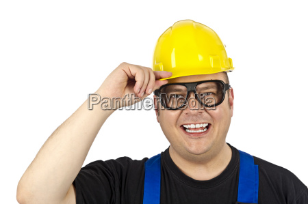 construction worker with head protection