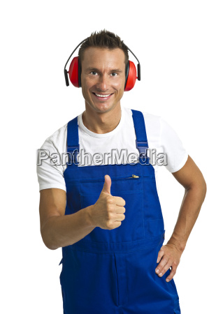 workers with hearing protection