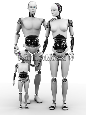 robot man woman and child