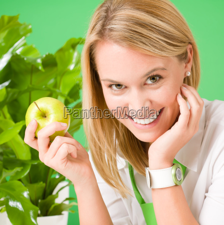 green business office woman smiling hold