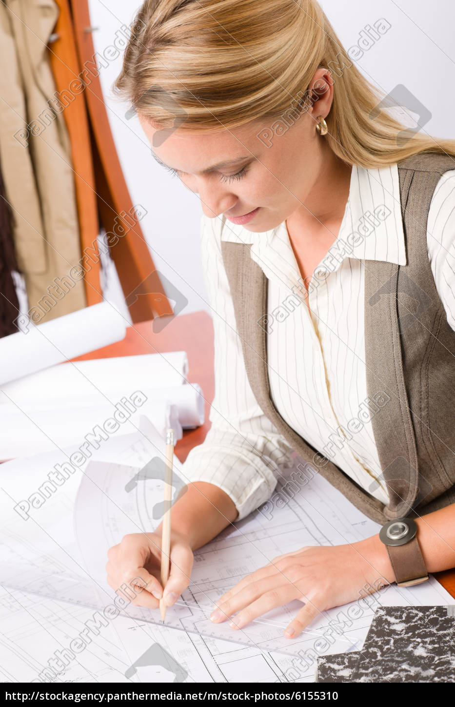 architect, woman, sketches, office, with, blueprint - 6155310