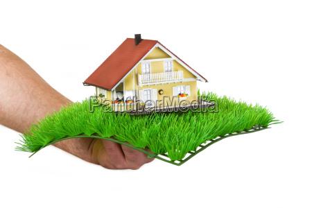 model house on grass mat
