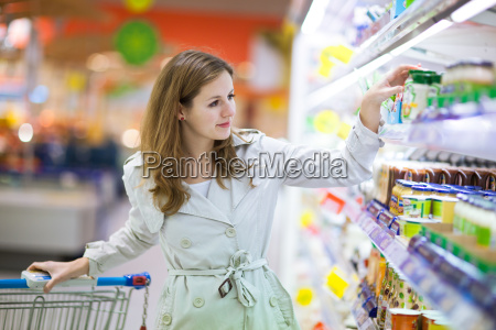 young woman shopping for food