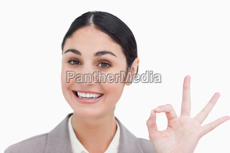 close up of smiling businesswoman giving