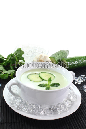ice cooled cucumber soup with mint