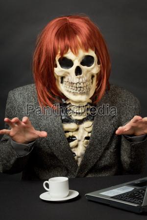 amusing skeleton with red hair