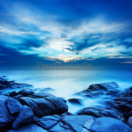 alien sea at dawn long exposure