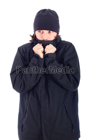 man wrapped up in winter jacket