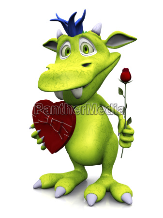 cute cartoon monster holding rose and
