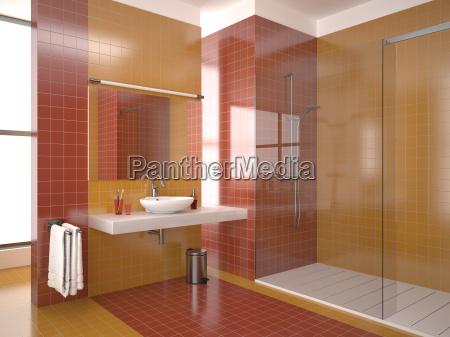 modern red bathroom