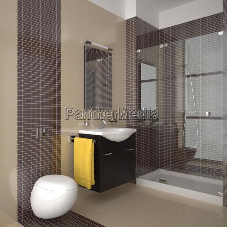 modernes badezimmer mit beige und braun