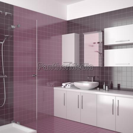 modern bathroom with purple tiles
