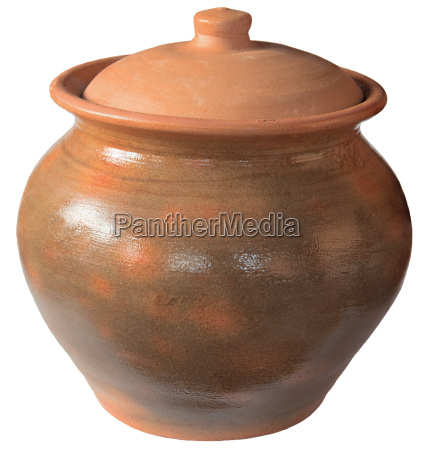 old ceramic pot with a lid