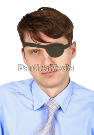serious one eyed man isolated on