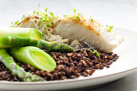 butterfish with green lentils leek and
