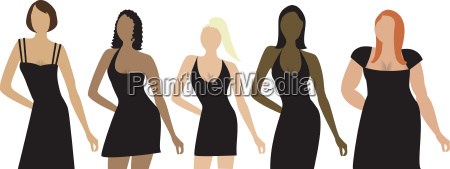 five women of different shapes sizes