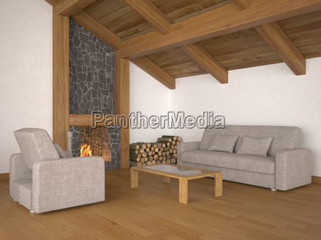 living room with roof beams and
