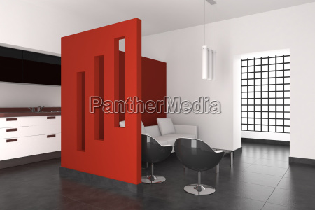 modern interior with living room and