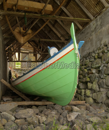 traditional faroese fishing boat made of