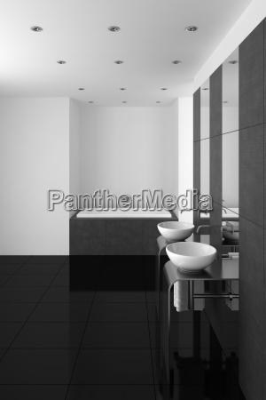 modern bathroom with double basin and