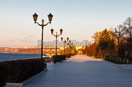 row of lampposts on volga river