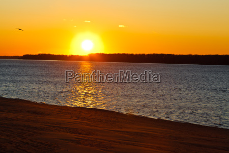 beatiful sunset on volga river in
