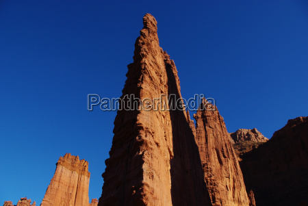 red rock formations and intense blue