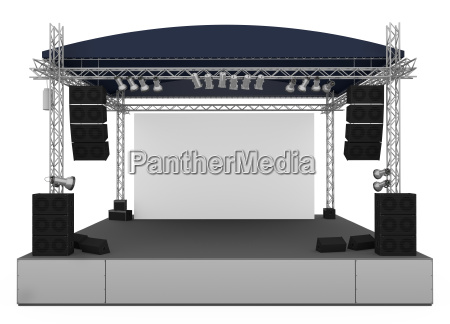 front view of outdoor gig stage