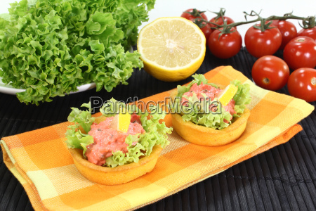 corn basket with pollock salad