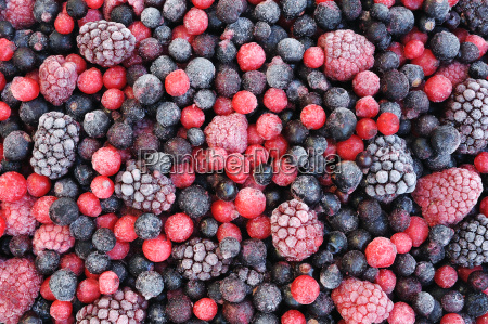 close up of frozen mixed fruit
