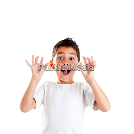 children with funny expression gesture open