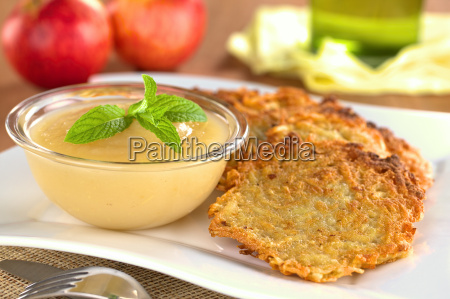 apple sauce and potato fritters