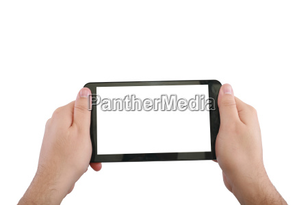 blank touchpad with two hand isolated