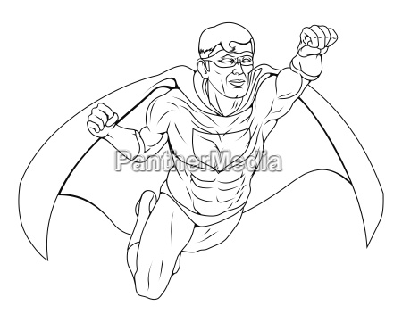 monochrome superhero illustration
