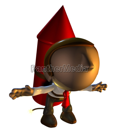 3d business man character with rocket