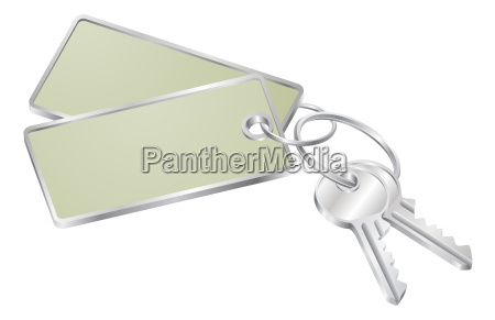 two keys with blank tag for
