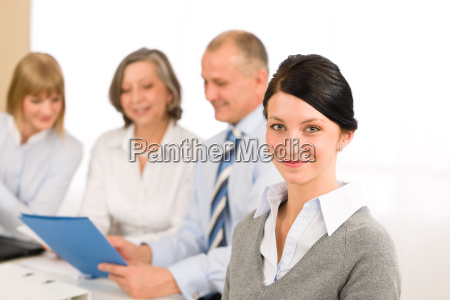 young executive woman look camera during