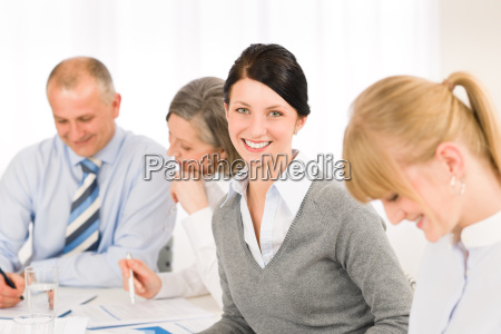 businesswoman, at, team, meeting, with, colleagues - 6332963