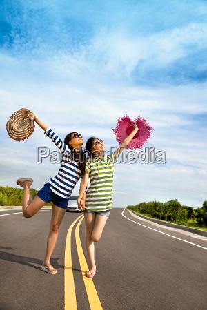 two girls having fun on the