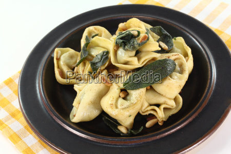 fresh tortellini with ointment butter