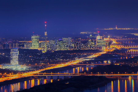 vienna at night with danube