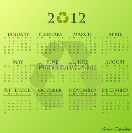 2012 green calendar